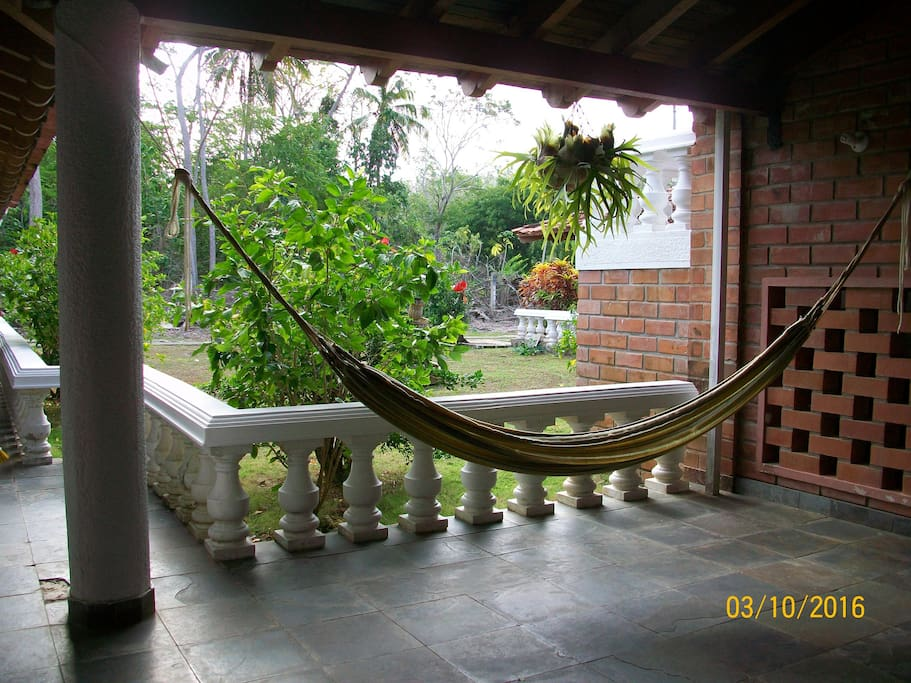 relaxing hammocks in different patios