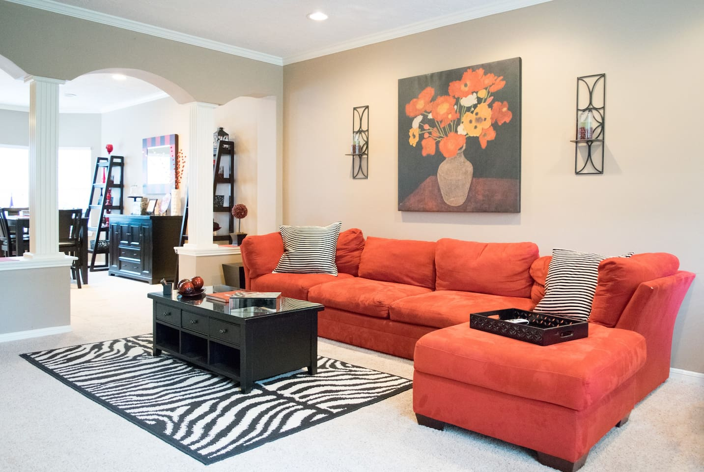 Family room area with great red couch