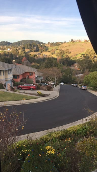 This is a view from your window of our street with plenty of parking if our driveway is occupied, and the beautiful hillsides of our neighborhood.