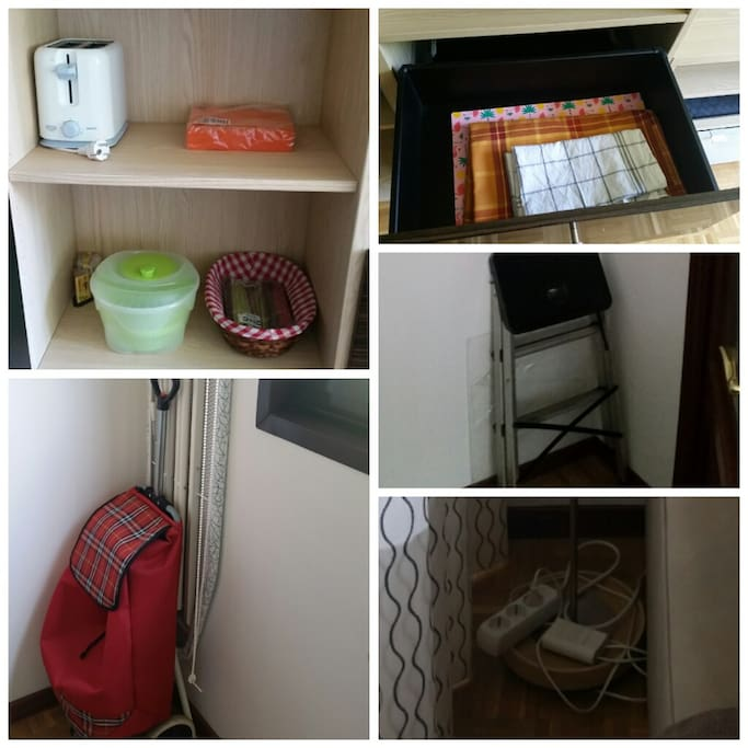 Toaster, salad spinner,  shopping trolley, ironing board, tablecloths, extensions, ladder.