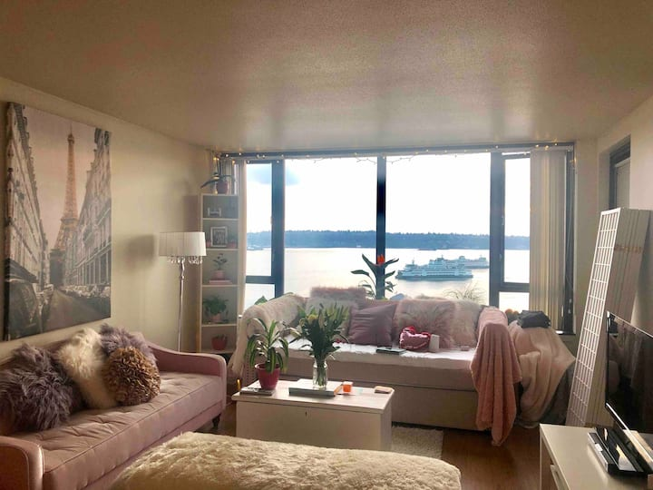 Private girly water view room in downtown Seattle