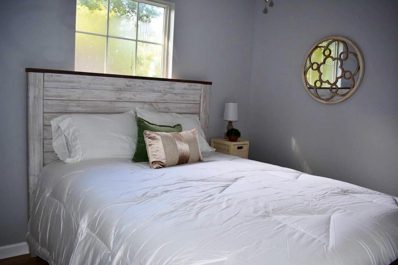 Clean, comfortable queen bed in bedroom #2