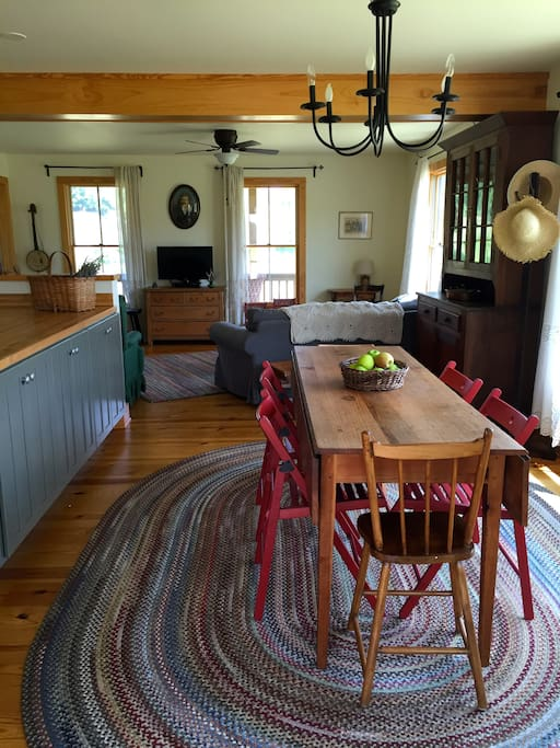 Family farm table easily seats six with a beautiful view of the meadow!