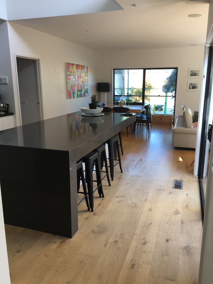 Kitchen bench and Family room