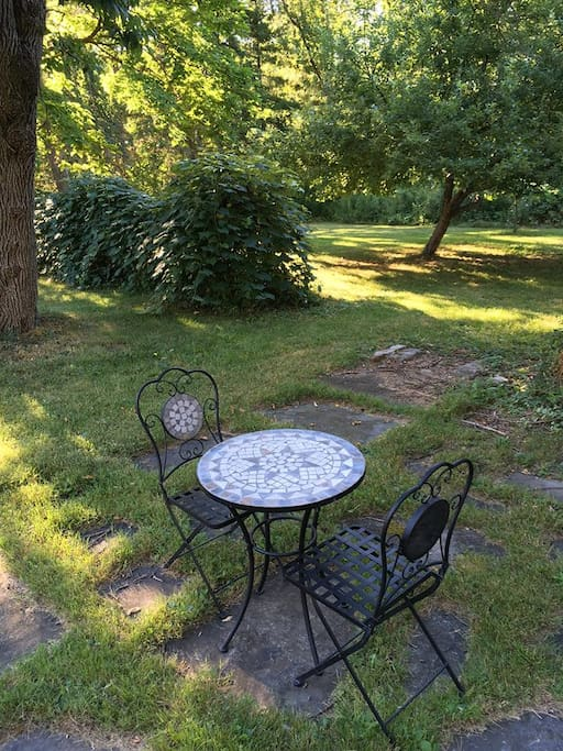 Have your breakfast or a glass of wine in the backyard!