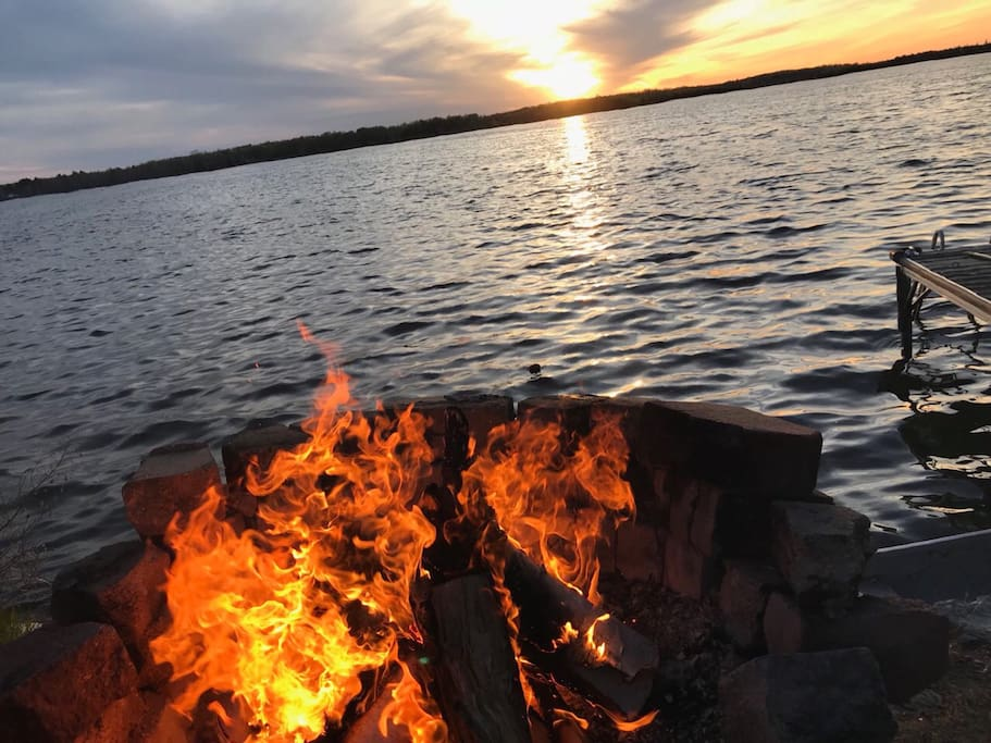 Fire  and lake view