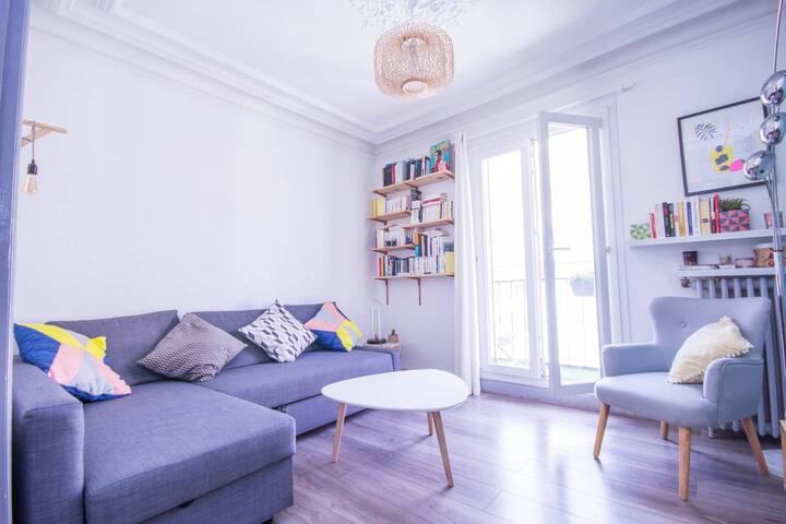 Magnifique logement avec balcon près de Bastille - Salon