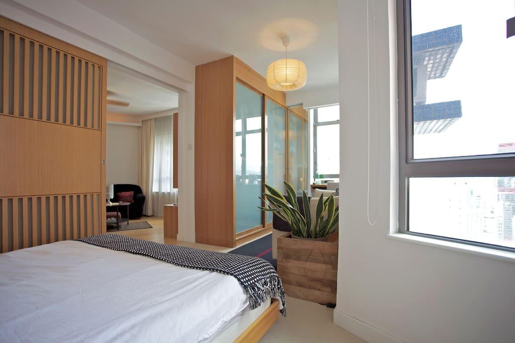Ample Storage, Japanese Inspired Sliding Door & Lighting