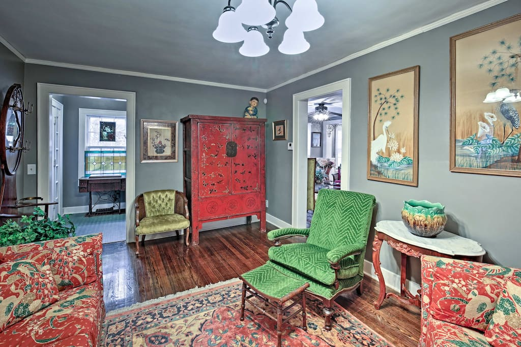 This 2,100-square-foot home sleeps up to 6 and is filled with antiques.