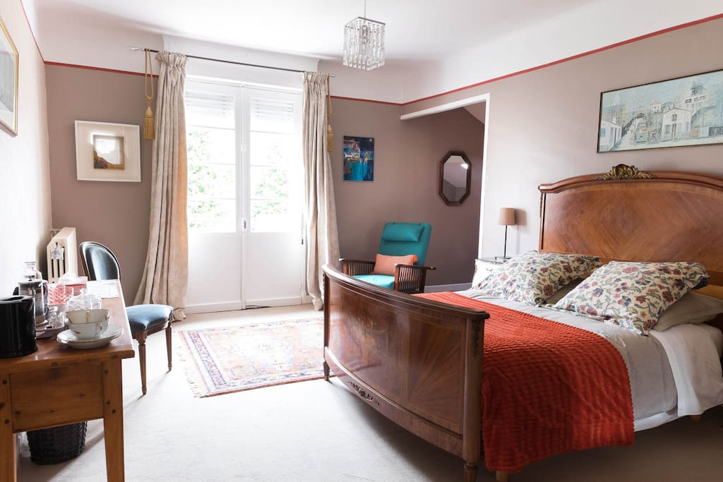 Stylish room with a double bed and single bed small anti room, private bathroom, balcony