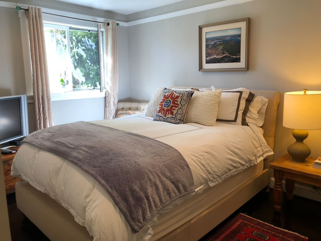 Master bedroom with fireplace - peaceful and quiet
