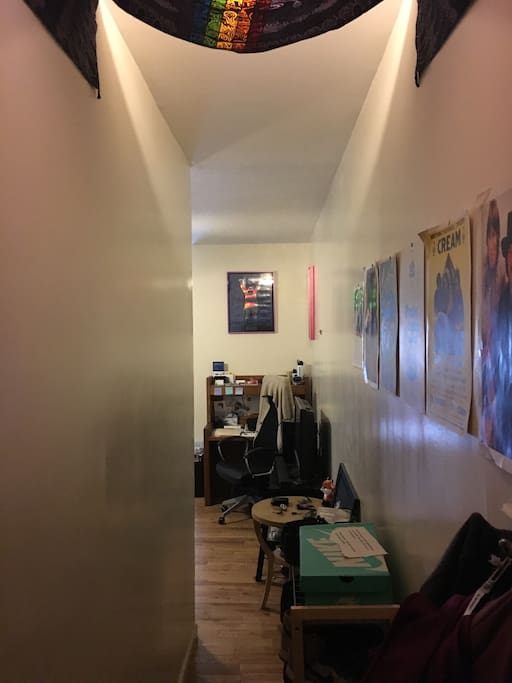 This is the hallway leading to the living room and the view when you walk through the door. I love music so there are various music posters as well as a tapestry hanging above.