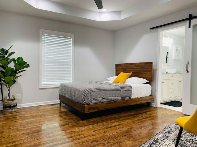 Master bedroom includes an en suite bathroom with double sinks