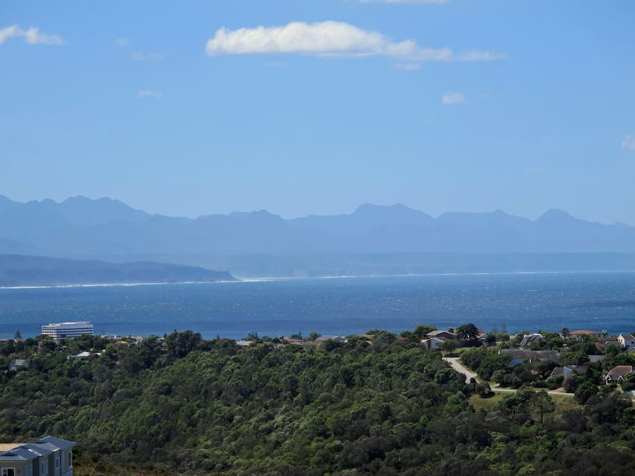 View of the Bay and Tsitsikamma Mountains from the patio.