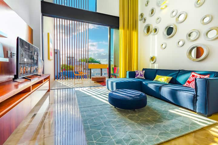3BR Modern Penthouse Own Rooftop Pool Min to beach