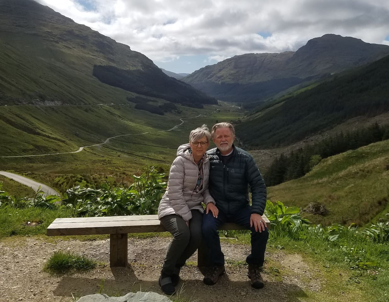 """Friends, We are taking a couple of months off. This is our time to """"Rest and Be Thankful."""" (Scottish Highlands, Rest and Be Thankful Pass, May, 2019)"""