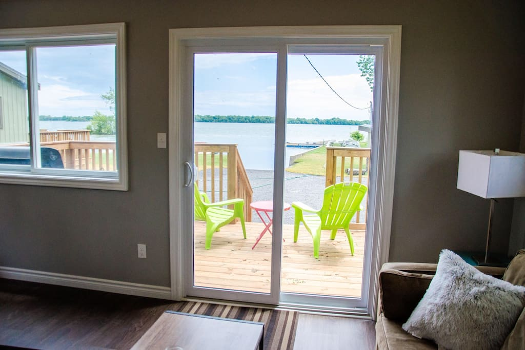 This is the view from the living room looking out to the lake