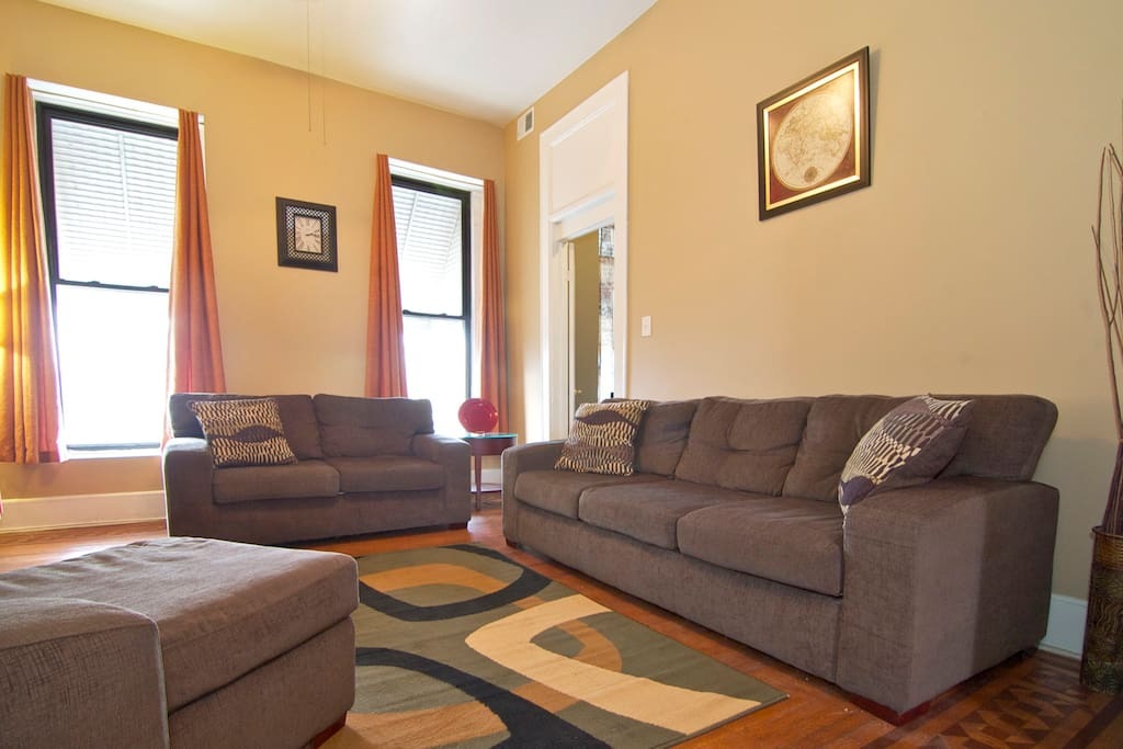 Comfy sofa, loveseat and chaise will make you feel at home.