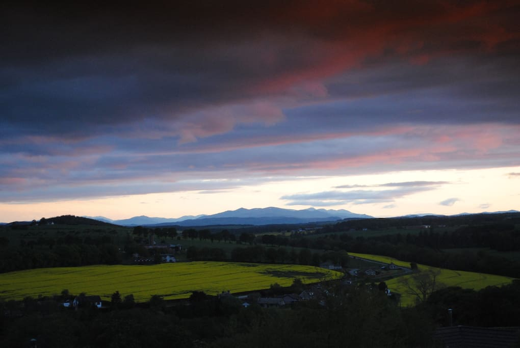 Late evening view across to Wester Ross from the guest bedroom window.