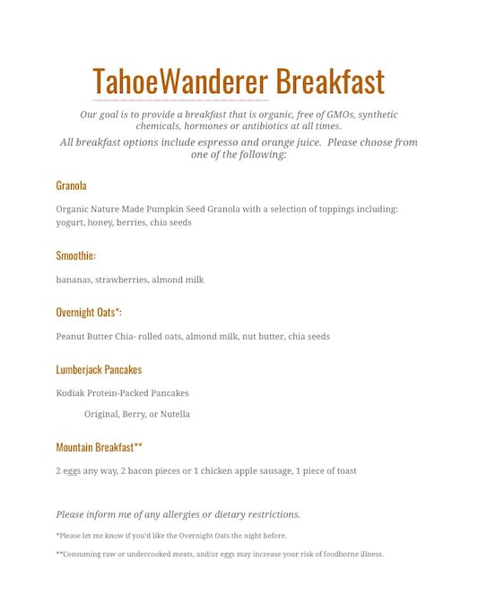 Prices include made to order breakfast! Available between 7am-9am