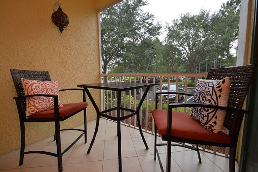 Our screened patio has seating