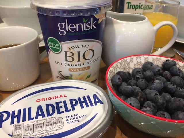 Breakfast: organic yoghurt, cream cheese and seasonal fresh fruit