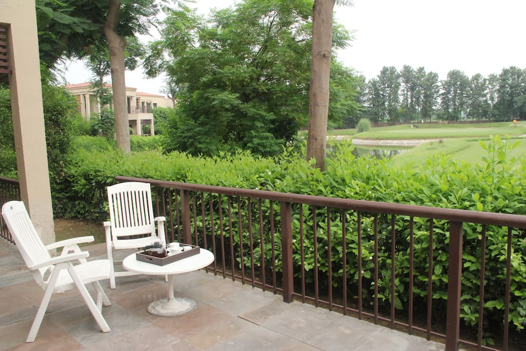 Front Deck attached to living room overlooking the lake and golf course
