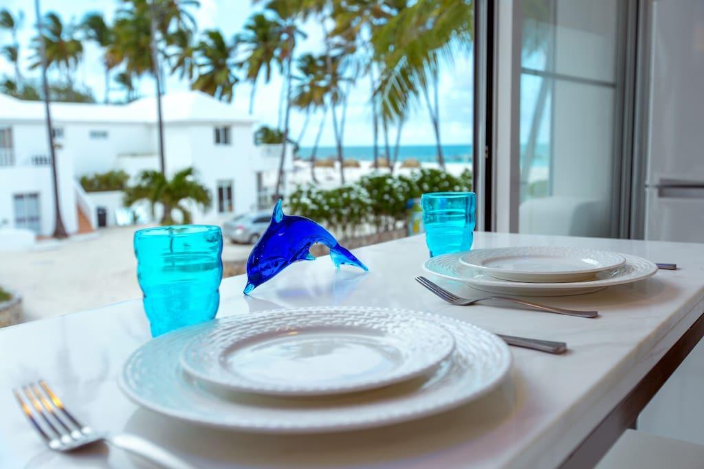 Ocean view dining area