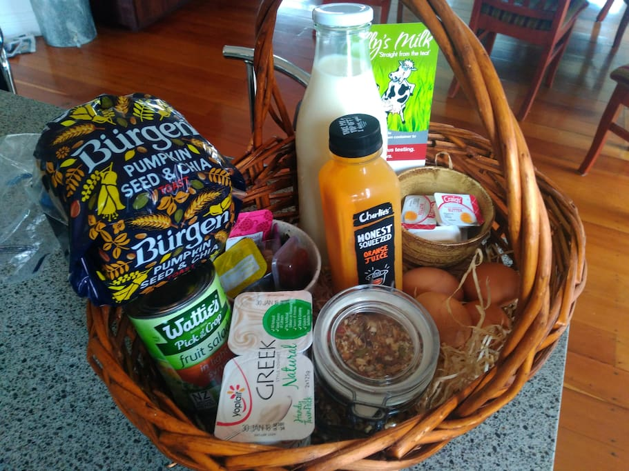 Scrumptious breakfast basket provided for 2 people.
