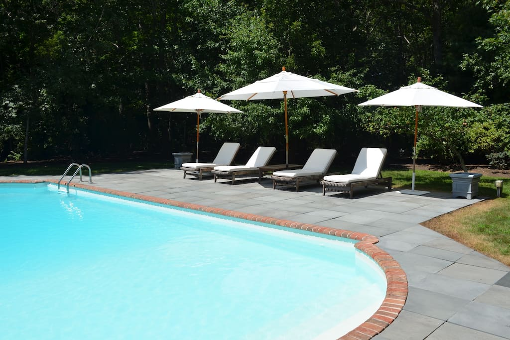 Pool Deck with Speaker System and Refrigerator