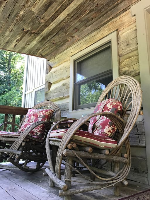 The front porch is a perfect place to relax and listen to the sounds of nature