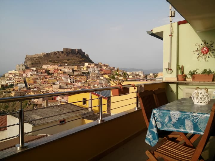 A TERRACE ON THE SEA AND ON THE MEDIEVAL CASTLE...