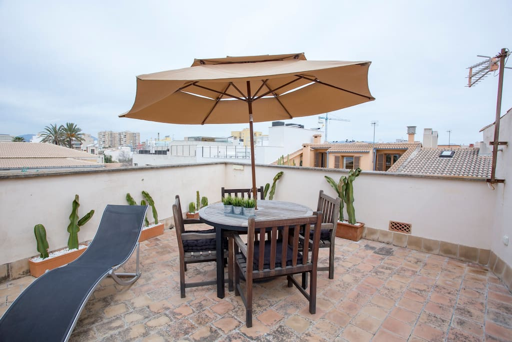 Enjoy sunshine, views and sounds of the sea from your private roof top terrace.