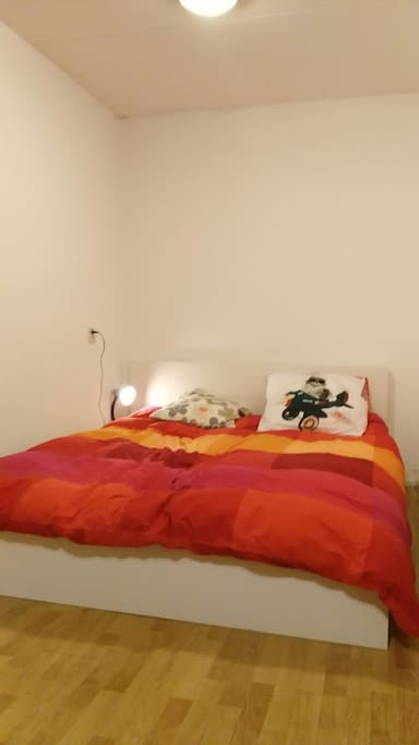 160*200 double bed, with lights on at night.
