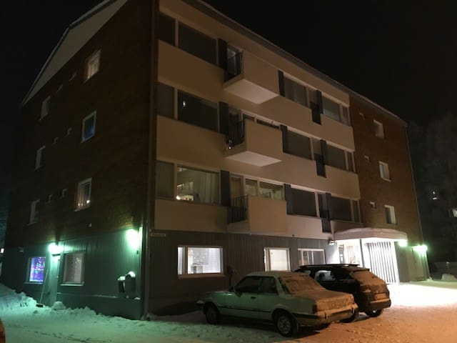 The apartment is on the ground floor, there is a parking lot with electricity for your car outside.