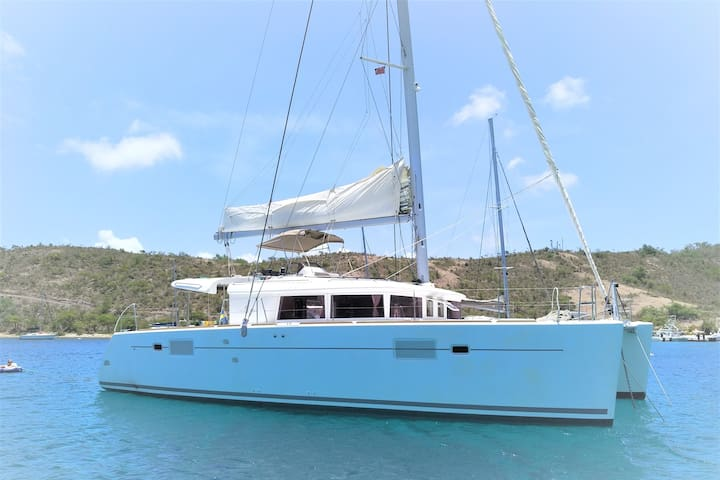 Modern and spacious catamaran with captain