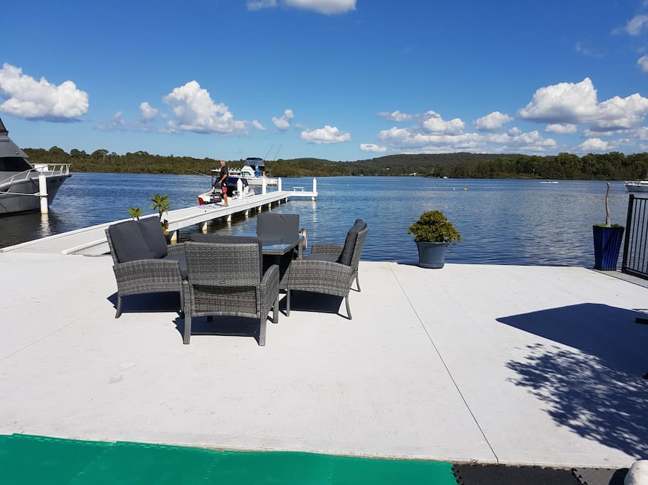 Start your day here on the new sitting area right on the waters edge