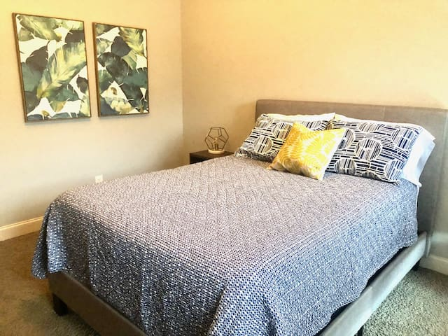 Fully furnished bedroom with sleep perfect mattress, high quality sheets, pillows and 40 inch smart TV.