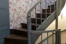 Stairs to top bedroom