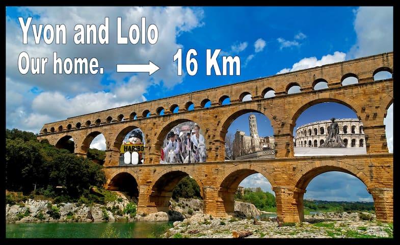 maison+ jardin proche Nimes & Pont du Gard