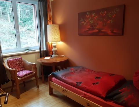 Einbettzimmer mit Waldblick