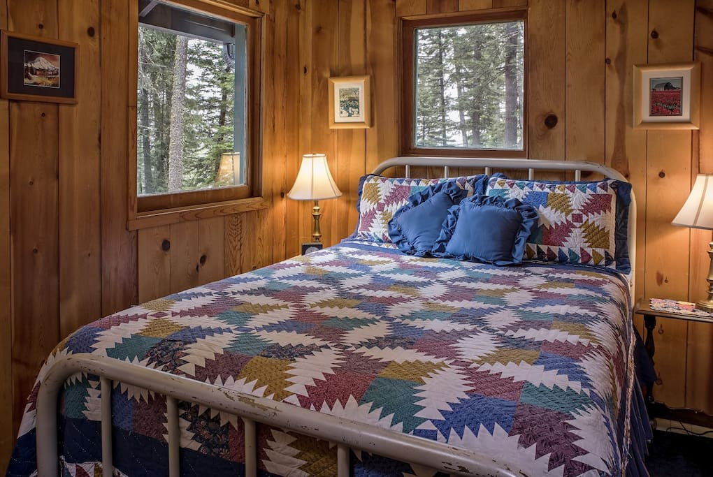 Double bed with a curtain for your privacy.