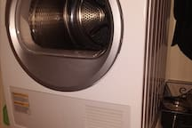 Bosch washer & dryer. Laundry detergent, bleach and spot remover provided.