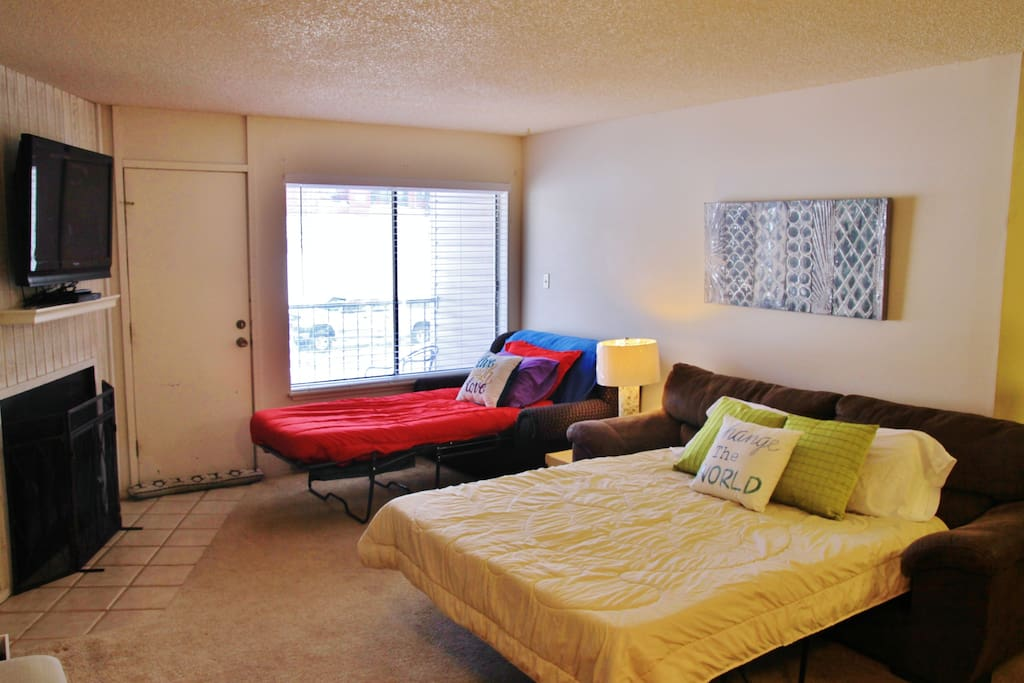 Two hideabeds, sleep three in the living room.  Flooring has been updated to hardwood tile and door has been replaced.