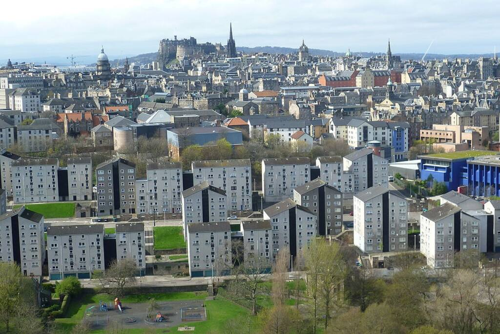 flats with Edinburgh city and Holyrood Park, Castle in background