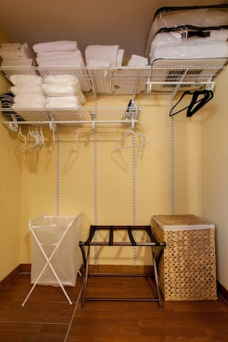 Master bedroom closet - you have exclusive use during your stay.  Your hosts do not store personal items anywhere in the apartment, it's all yours!