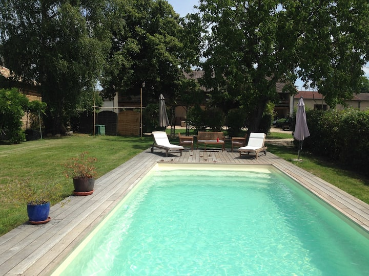 modern farmhouse, swimming pool in the countryside