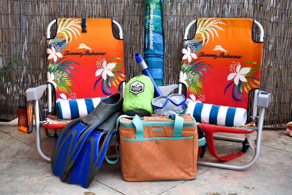 Your room comes equipped with beach chairs, umbrella, towels, snorkel gear, hammock, and cooler bag.