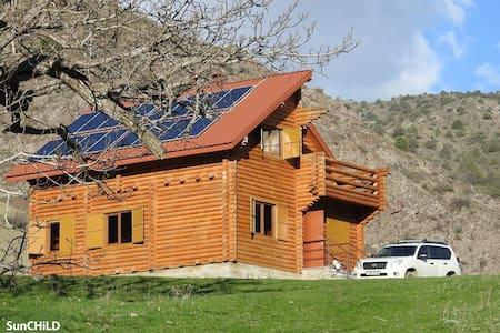 Эко Центр, деревянный домик в середине леса