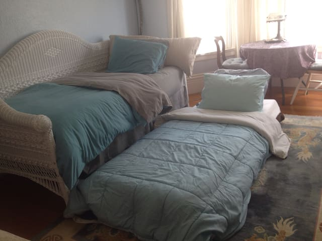 Two Twin Beds Side by Side available by Special Request.  The beds can also be the same level